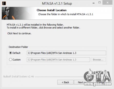 Select installation directory MTA San Andreas