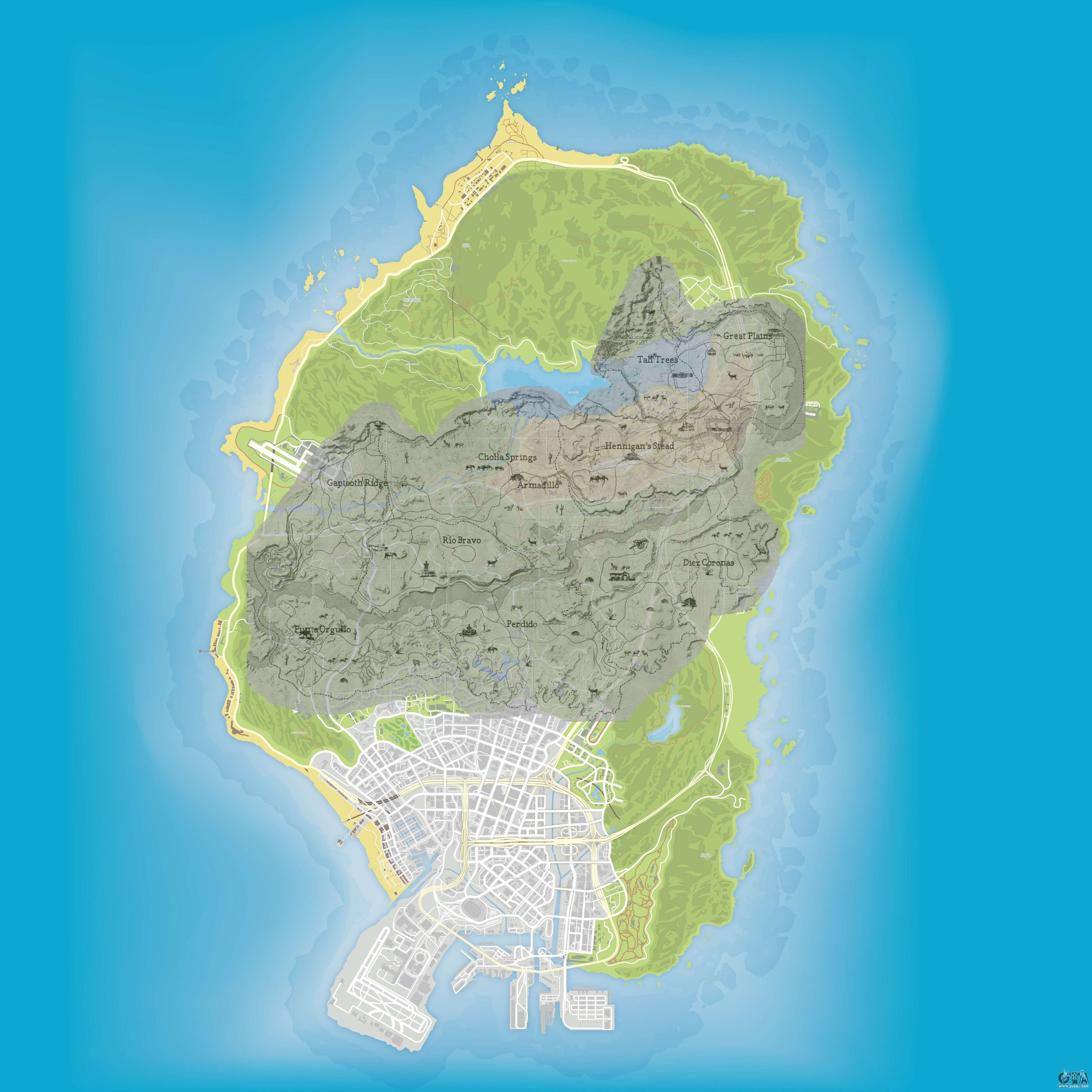 Size comparison of map of GTA 5