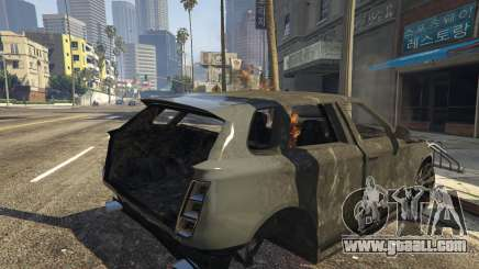 The remains of the car in GTA 5