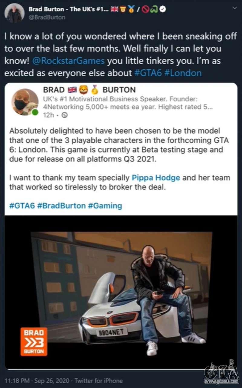 Brad Burton tweet about GTA 6
