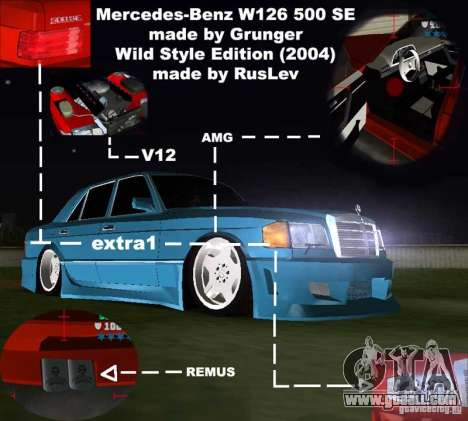 Mercedes-Benz W126 Wild Stile Edition for GTA Vice City inner view