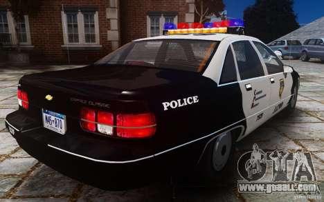 Chevrolet Caprice 1991 Police for GTA 4 back view