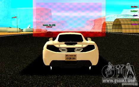 McLaren MP4-12C 2011 for GTA San Andreas back left view