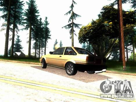 Toyota Corolla AE86 Levin for GTA San Andreas back left view