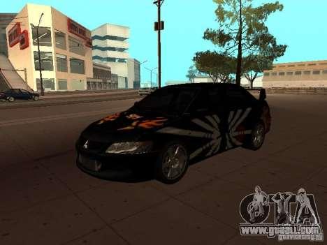 Mitsubishi Lancer Evolution 8 for GTA San Andreas upper view