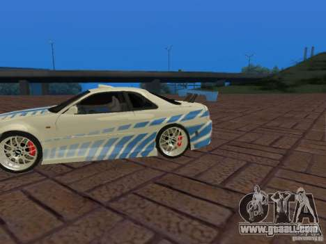 Nissan Skyline GT-R R34 Tunable for GTA San Andreas upper view