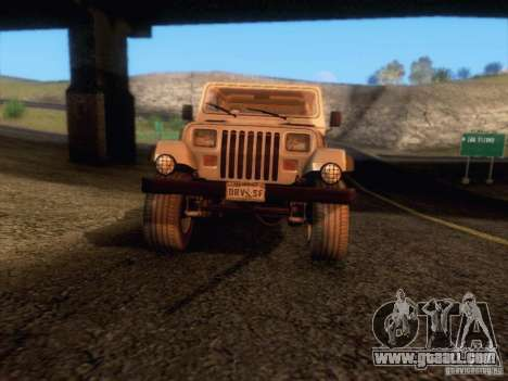 Jeep Wrangler 1994 for GTA San Andreas upper view