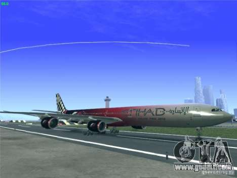 Airbus A340-600 Etihad Airways F1 Livrey for GTA San Andreas left view