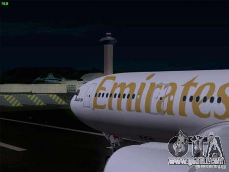 Airbus A330-200 Emirates for GTA San Andreas inner view