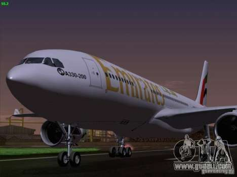 Airbus A330-200 Emirates for GTA San Andreas back view