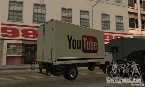 Truck with logo YouTube for GTA San Andreas left view