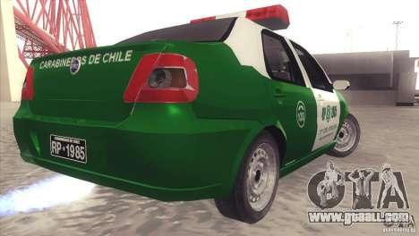 Fiat Siena Carabineros De Chile for GTA San Andreas back left view