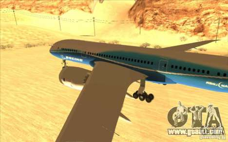 Boeing 787 Dreamlinear for GTA San Andreas back left view