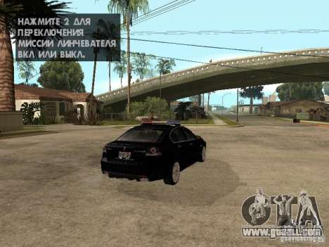 Pontiac G8 GXP Police v2 for GTA San Andreas back left view