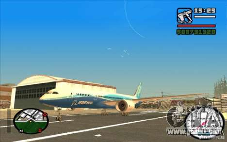 Boeing 787 Dreamlinear for GTA San Andreas left view