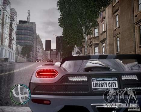 Koenigsegg Agera for GTA 4 back left view