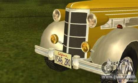 Ford DeLuxe Fordor Sedan V8 1938 for GTA San Andreas back left view