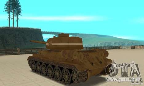 Tank T-34 for GTA San Andreas back left view