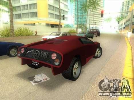 Infernus from GTA IV for GTA Vice City back left view