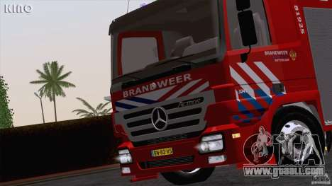 Mercedes-Benz Actros Fire Truck for GTA San Andreas back view