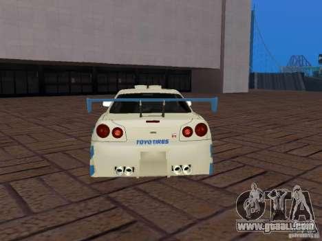 Nissan Skyline GT-R R34 Tunable for GTA San Andreas bottom view