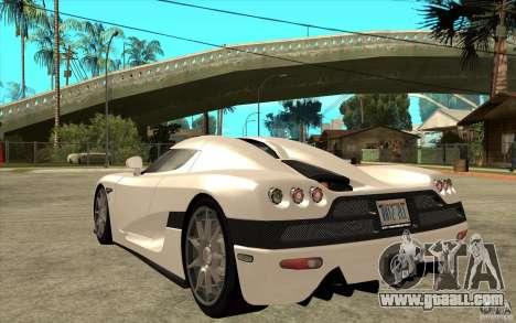 Koenigsegg CCX - Stock for GTA San Andreas back left view