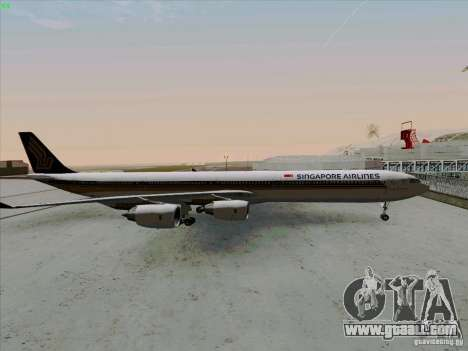 Airbus A-340-600 Singapore for GTA San Andreas left view