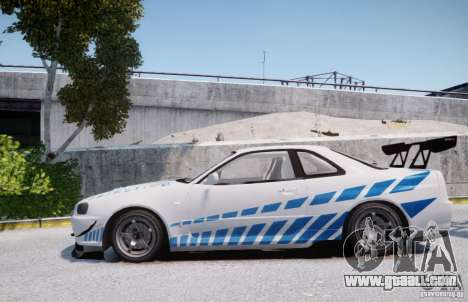 Nissan Skyline GT-R R34 2F2F for GTA 4 left view