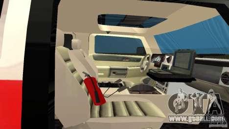 HUMMER H2 Amulance for GTA San Andreas back view