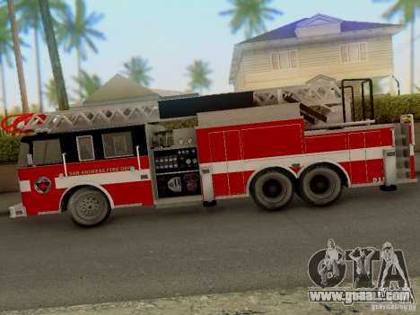 Pierce Firetruck Ladder SA Fire Department for GTA San Andreas back left view