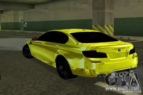 BMW M5 F10 Gold for GTA San Andreas back left view
