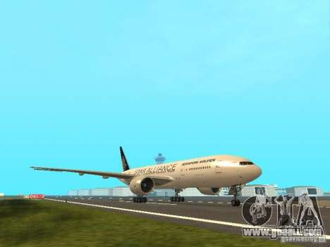 Boeing 777-200 Singapore Airlines for GTA San Andreas left view