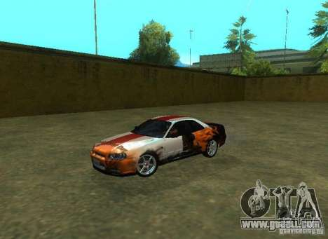 Nissan Skyline GTR-34 for GTA San Andreas engine