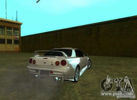 Nissan Skyline GTR-34 for GTA San Andreas inner view