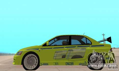 Mitsubishi Lancer Evo The Fast and the Furious 2 for GTA San Andreas back left view