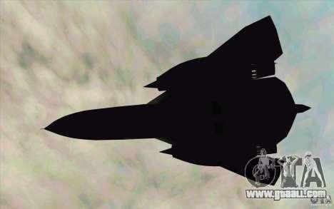 SR-71A BLACKBIRD BETA for GTA San Andreas back left view