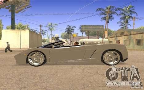 Lamborghini Galardo Spider for GTA San Andreas back view