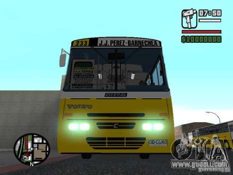 Ciferal GLS Volvo B10M for GTA San Andreas inner view