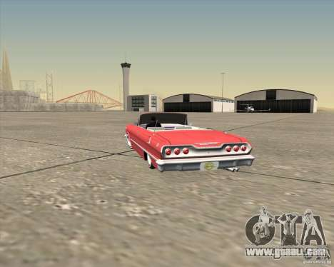 Chevrolet Impala 1963 lowrider for GTA San Andreas bottom view