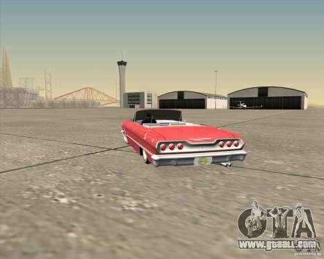 Chevrolet Impala 1963 lowrider for GTA San Andreas bottom view