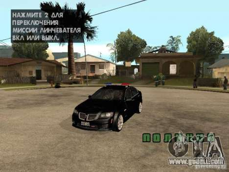 Pontiac G8 GXP Police v2 for GTA San Andreas