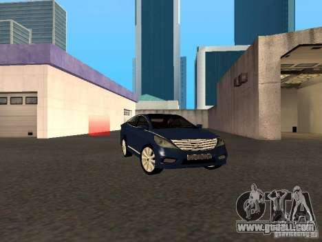 Hyundai Azera 2012 for GTA San Andreas back left view