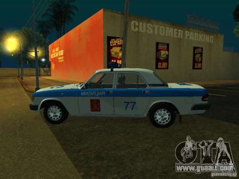 GAZ 3110 Police for GTA San Andreas back left view