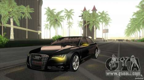 Audi S8 2012 for GTA San Andreas back left view