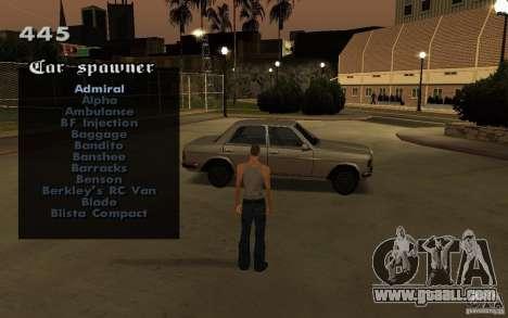 Vehicles Spawner for GTA San Andreas forth screenshot