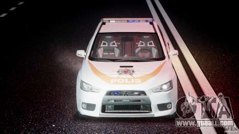 Mitsubishi Evolution X Police Car [ELS] for GTA 4 upper view