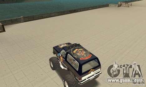 Chevrolet Blazer K5 Monster Skin 2 for GTA San Andreas back left view