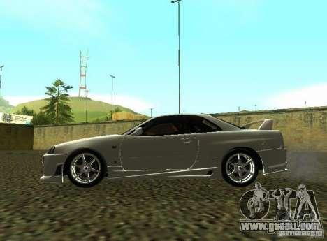 Nissan Skyline GTR-34 for GTA San Andreas side view