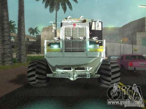 Kenworth W900 Monster for GTA San Andreas inner view