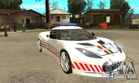 Lotus Evora S Romanian Police Car for GTA San Andreas back view